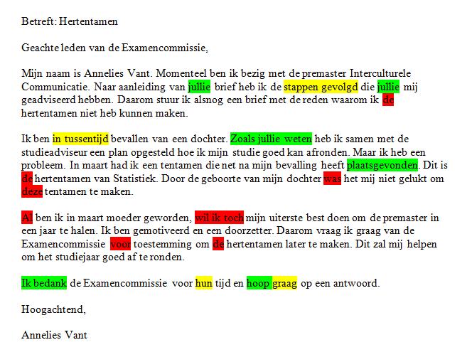 voorbeeldbrief examencommissie Voorbeeld 1 | Schrijfwijzer.nl voorbeeldbrief examencommissie